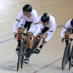 Ethan Mitchell, Sam Webster and Eddie Dawkins compete in the Men's Elite Team Sprint final  during the New Zealand Oceania Track Championships on November 20, 2017 in Cambridge, New Zealand. Mandatory Credit: Dianne Manson