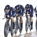 New Zealand's women's team pursuit team at the Cambridge Track World Cup.