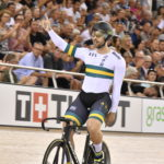 Nathan Hart celebrates winning sprint at Cambridge Track World Cup.