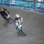 Saya Sakakibara racing away to the Oceania BMX title.